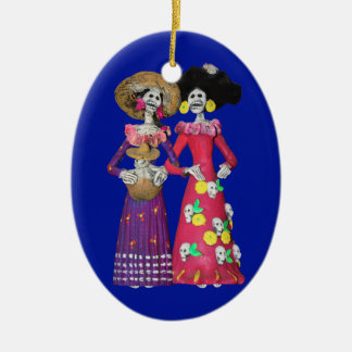 Calavera Amigas Ceramic Ornament