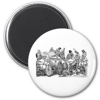 Calavera Bicyclists circa late 1800's Mexico 2 Inch Round Magnet
