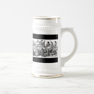 Calavera Bicyclists circa late 1800's Mexico Beer Stein