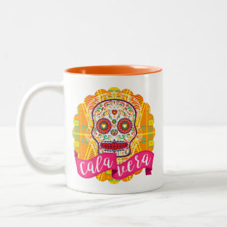 Calavera. Day of the Dead Mexican Sugar Skull Two-Tone Coffee Mug