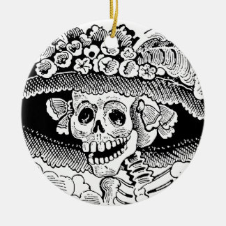 Calavera Garbancera (Catrina) by José Posada Round Ceramic Ornament
