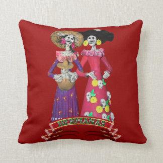 Calavera Hermanas Throw Pillow
