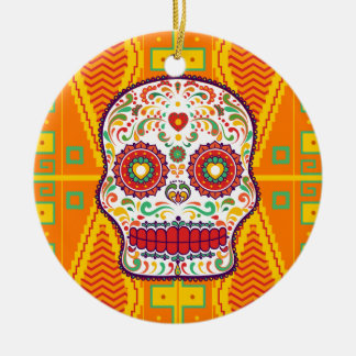 Calavera II. Day of the Dead Mexican Sugar Skull Ceramic Ornament