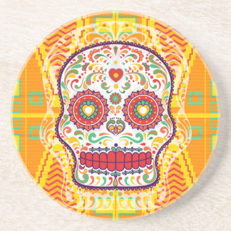 Calavera II. Day of the Dead Mexican Sugar Skull Drink Coaster