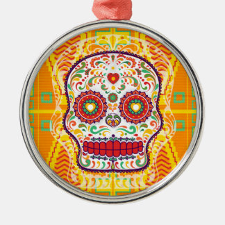 Calavera II. Day of the Dead Mexican Sugar Skull Metal Ornament