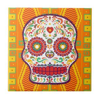 Calavera II. Day of the Dead Mexican Sugar Skull Tile