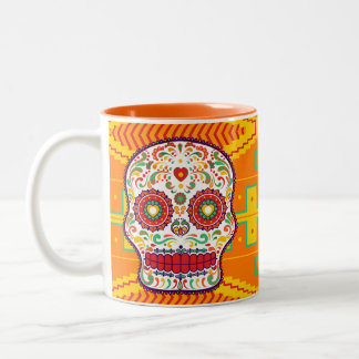 Calavera (II). Day of the Dead Mexican Sugar Skull Two-Tone Coffee Mug