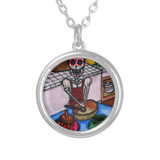 CALAVERA LA COCINERA LA JEFA PAINTING SILVER PLATED NECKLACE