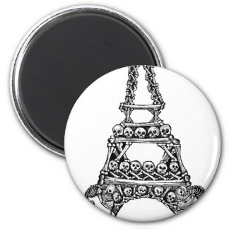 Calavera of the Eiffel Tower c. late 1800's 2 Inch Round Magnet