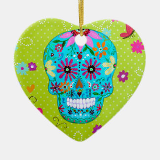 CALAVERA_SUGAR SKULL II CERAMIC HEART ORNAMENT
