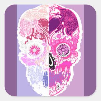 Calavera - Sugar skull Pink No2 Square Sticker