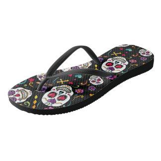 Calaveras Celebration - black Flip Flops