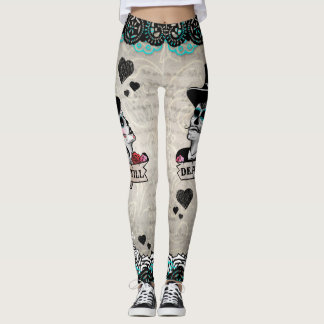 Calaveras Sugar Skull Couple Offbeat Leggings