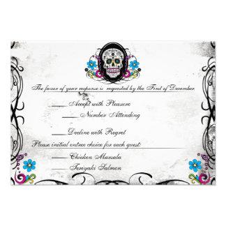 Calaveras Sugar Skull Flourishes Reception Card Custom Invite