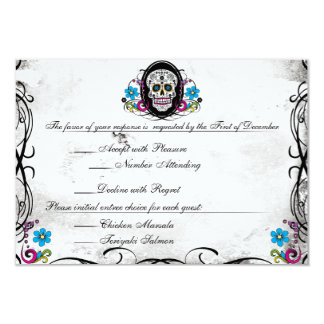 Calaveras Sugar Skull & Flourishes Reception Card Custom Invite