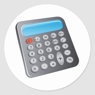 Calculator Classic Round Sticker