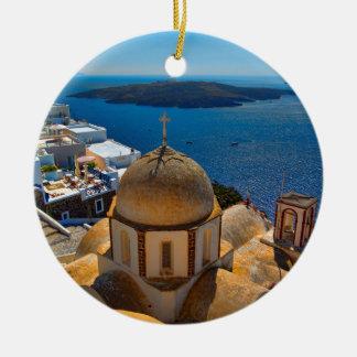 Caldera Church in Santorini Greece Ceramic Ornament