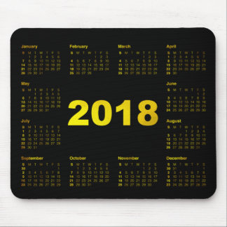 Calendar 2018 Black Yellow Gold Metallic Minimal Mouse Pad