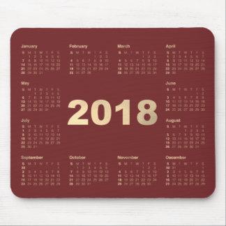 Calendar 2018 Burgundy  Faux Gold Metallic Minimal Mouse Pad