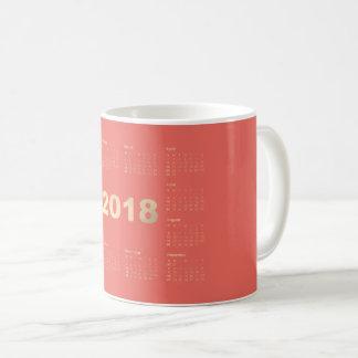 Calendar 2018 Champagne Sepia Gold Coral Coffee Mug