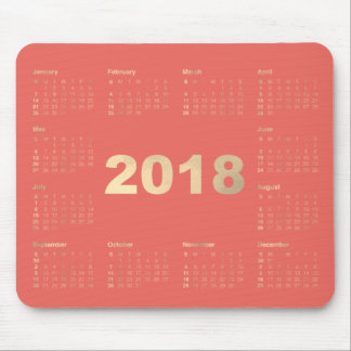 Calendar 2018 Coral  Faux Gold Metallic Minimal Mouse Pad
