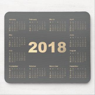 Calendar 2018 Gray Faux Gold Metallic Minimal Mouse Pad
