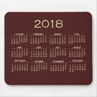 Calendar 2018 Maroon Burgundy Copper Sepia Gold Mouse Pad