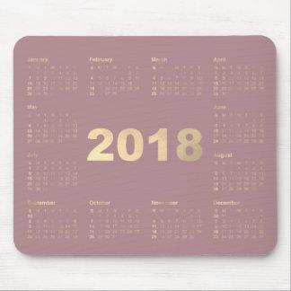 Calendar 2018 Mauve Lavanda Faux Gold Metallic Mouse Pad