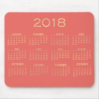 Calendar 2018 Metallic Coral Peach Sepia Gold Mouse Pad