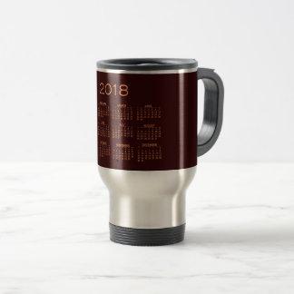 Calendar 2018 Minimal Burgundy Copper Gold Travel Mug