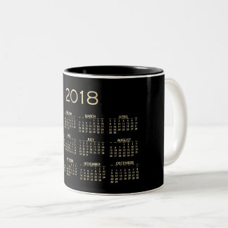 Calendar 2018 Minimal Sepia Gold Black White Two-Tone Coffee Mug