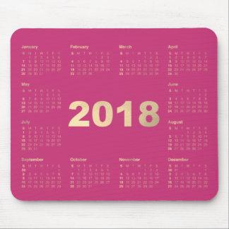Calendar 2018 Pink Fuchsia  Faux Gold Metallic Mouse Pad