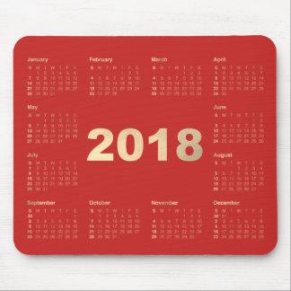 Calendar 2018 Red Faux Gold Metallic Minimal Mouse Pad