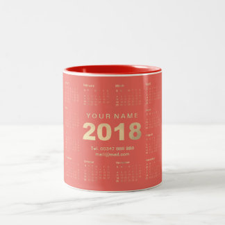 Calendar 2018 Sepia Gold Coral  Name Adress Brand Two-Tone Coffee Mug