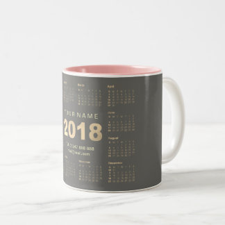 Calendar 2018 Sepia Gold Gray Name Adress Branding Two-Tone Coffee Mug