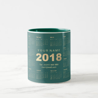 Calendar 2018 Sepia Gold Teal Name Adress Brand Two-Tone Coffee Mug