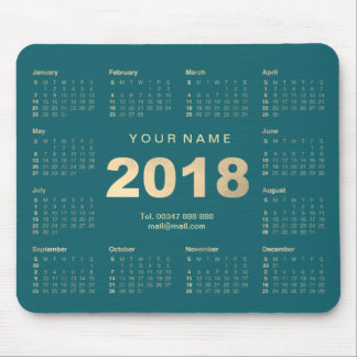 Calendar 2018 Teal Gold Name Contact Web Numer Mouse Pad