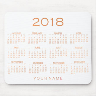 Calendar 2018 White Copper Rose Gold Name Mouse Pad