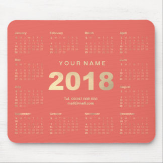 Calendar 2018 White Coral Gold Name Contact Numer Mouse Pad