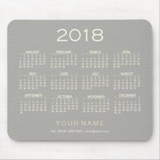 Calendar 2018 White Gray Name Contact Numer Mouse Pad