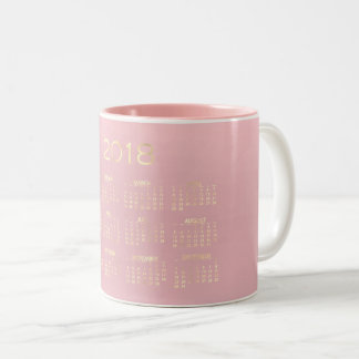 Calendar 201 Minimal Sepia Gold Pastel Pink Rose Two-Tone Coffee Mug