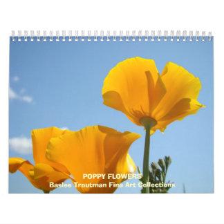 CALENDAR Poppies Calendar POPPY Flowers