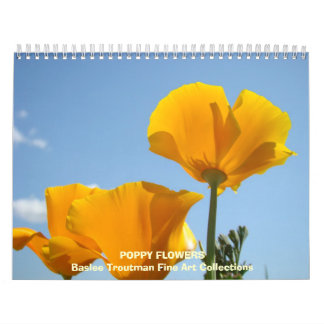 CALENDAR Poppies Calendar POPPY Flowers