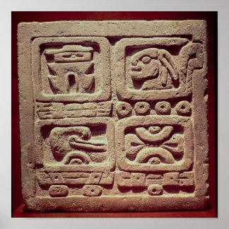 Calendar with four glyphs, Toltec Poster