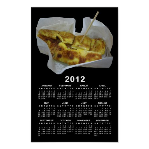 Calendrier 2012 de crêpe de banane [Roti Kluai Kha Posters