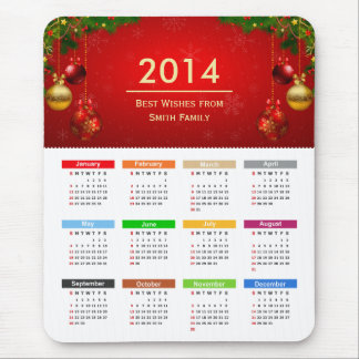 Calendrier 2014 avec meilleurs voeux le texte fait tapis de souris