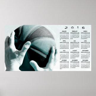 Calendrier vintage du basket-ball 2016 poster