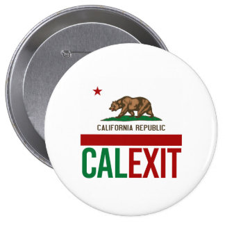 Calexit - California Exit Flag - -  4 Inch Round Button