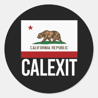 Calexit - California Exit Flag white  - -  Round Sticker