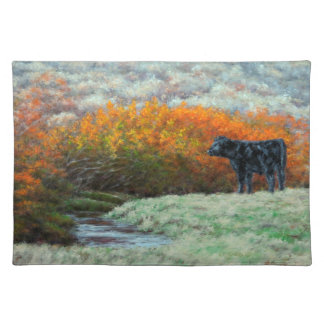 Calf by Creek in the Fall 1 Side Cotton Placemat